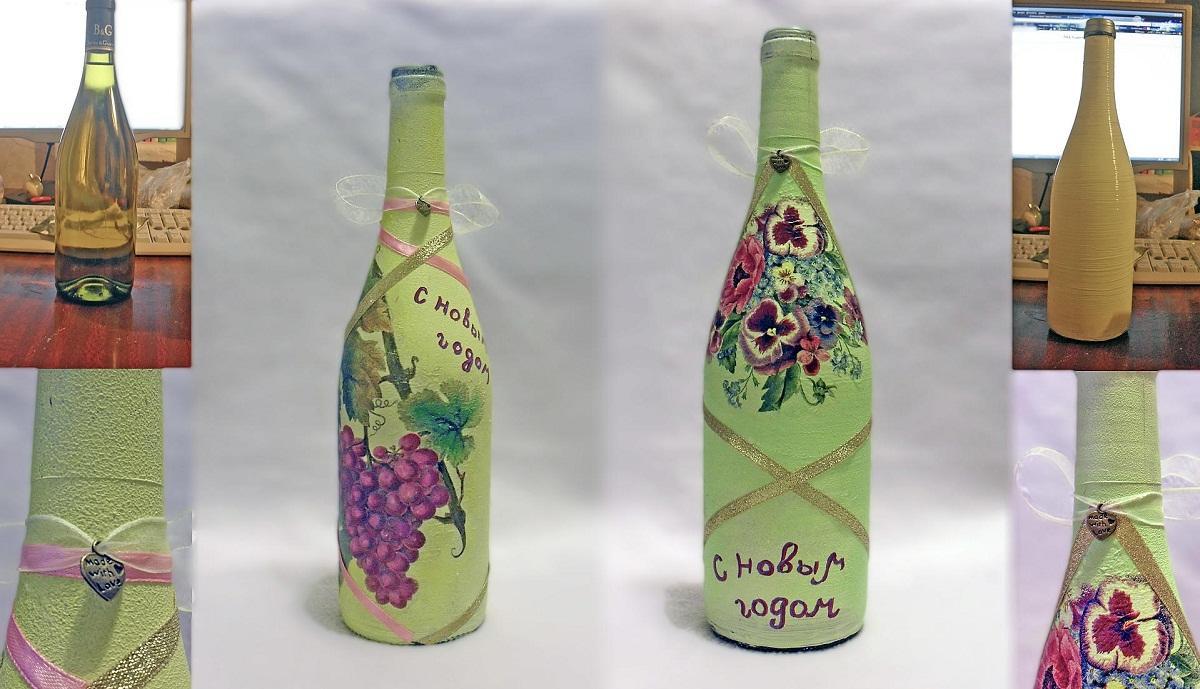 Как делать декупаж бутылки пошагово фото